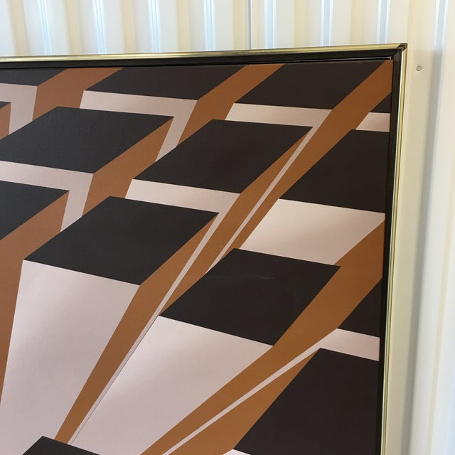 Canvas Vintage Artist Signed Geometric Op Art Acrylic on Canvas Monumental Wall Art- 5' X 5' For Sale - Image 7 of 13