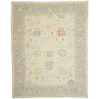 Contemporary Oushak Design Transitional Area Rug - 12′ × 15′ For Sale