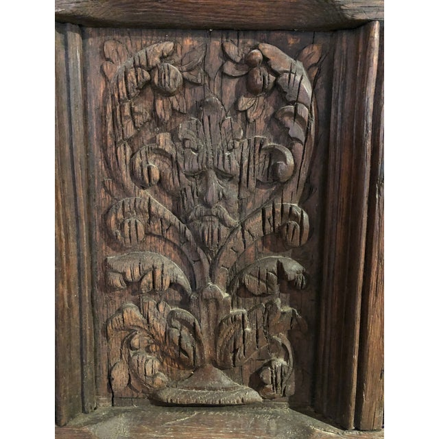 17th Century 17th Century English Hand Carved Dark Oak Door For Sale - Image 5 of 6