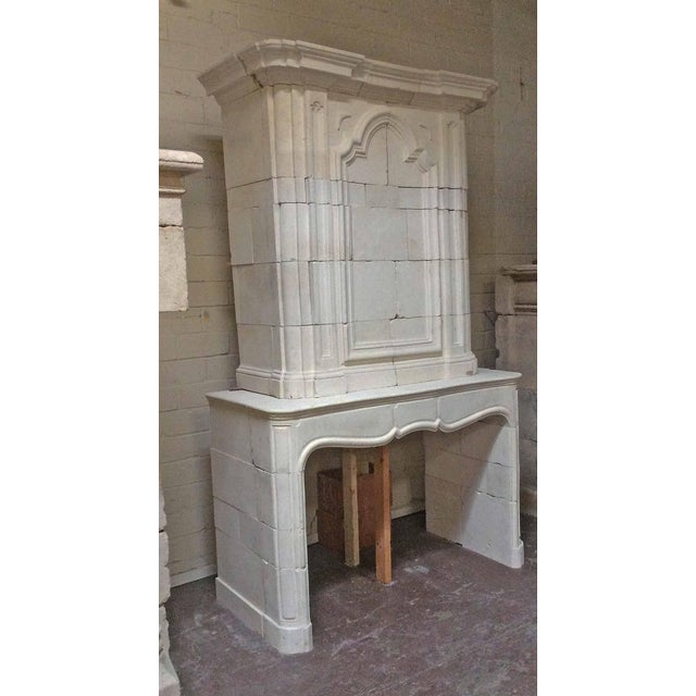 French Antique Limestone Mantel with Trumeau For Sale - Image 3 of 8