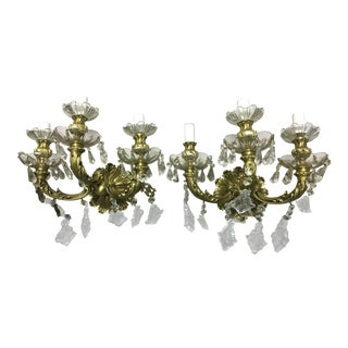Bronze & Crystal Maria Theresa Spanish Wall Sconces - a Pair For Sale