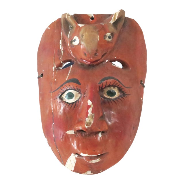 Red Wood Carved Mask - Image 1 of 6