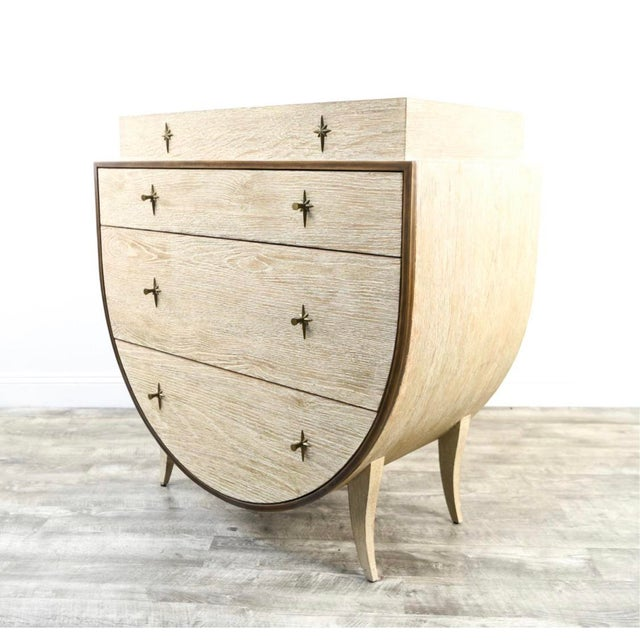 Dove Gray Vintage Cerused Oak Chest of Drawers For Sale - Image 8 of 11