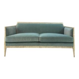 Custom Modern Caracole Turquoise Velvet Sofa For Sale