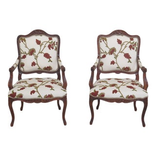 French Louis XV Style Crewel Work Upholstered Arm Chairs- A Pair For Sale