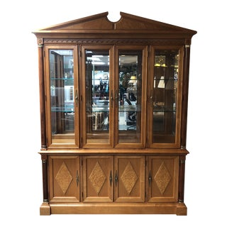 Neoclassical Stanley Furniture Maple and Walnut Display Cabinet