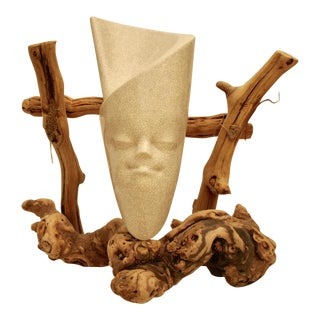 Burl Wood Frame Exotic Face Pottery