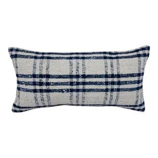 1960s Vintage Blue and Cream Plaid Kilim Lumbar Pillow For Sale