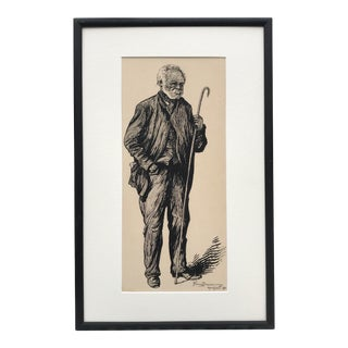 Antique Pen and Ink Drawing of a Man With a Cane by Florence Deming 1901 For Sale