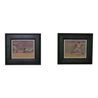 Arthur Smith Baseball Watercolors From 'Baseball' Series - A Pair For Sale