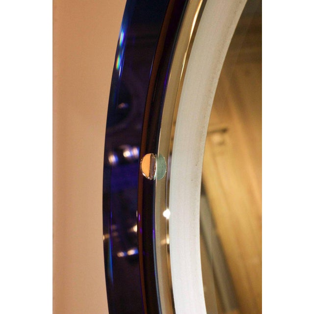 Blue Italian Blue and White Mirror With Backlight in the Style of Fontana Art, 1970s For Sale - Image 8 of 10