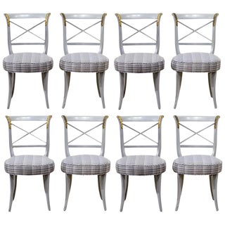 French Louis XVI Style Grey Paint and Gilt Upholstered Side Chairs - Set of 8