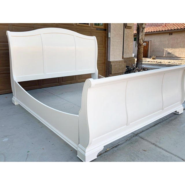 Solid Cherry King Size Sleigh Bed in Linen White For Sale In Phoenix - Image 6 of 8