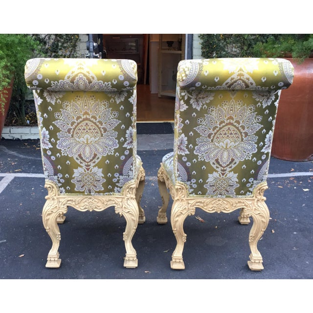 Italian Carved Italian Side Chair With Venetian Style Green Silk Lampas For Sale - Image 3 of 5