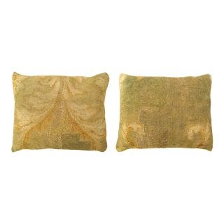 Antique Art Deco European Savonnerie Carpet Pillows - a Pair For Sale