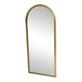 Drexel Heavy Brass Arched Beveled Glass Mirror For Sale