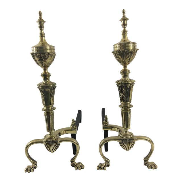 Brass American Sheraton Style Andirons - a Pair For Sale