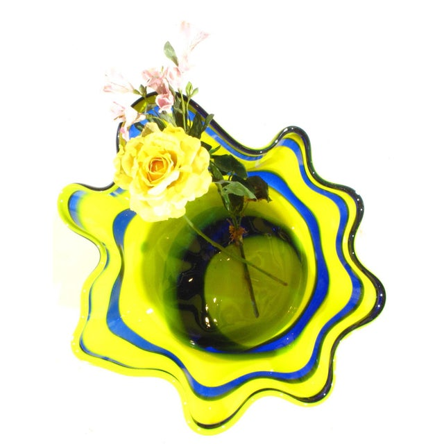Abstract Pasargad N Y Multi Colored Handkerchief Shaped Blended Glaze Bowl For Sale - Image 3 of 8