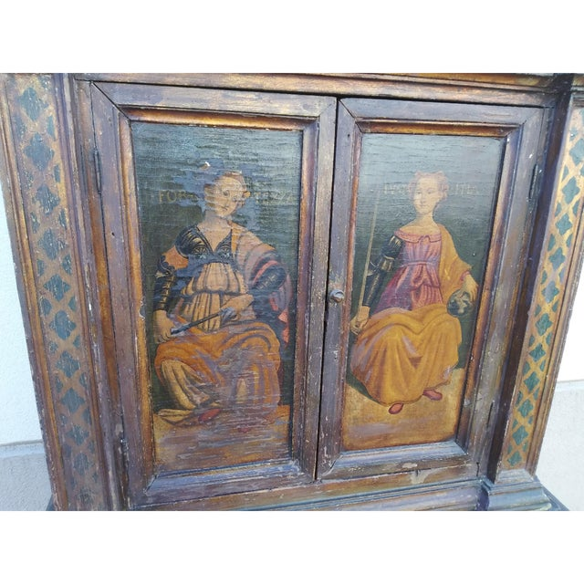 Baroque 19th Century Italian Hand Painted Polychromed Giltwood Claw Footed 2 Piece Cupboard For Sale - Image 3 of 13