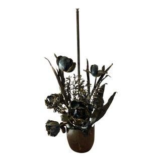 Mid-Century Metal Feldman Brutalist Floral Chandelier Attributed to Tom Greene For Sale