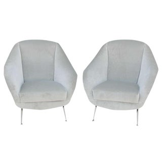 Vintage Italian Pair of Open Arm Chairs For Sale