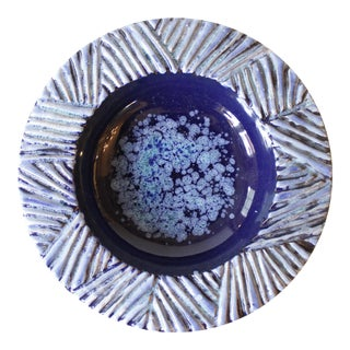 Nittsjo Sweden Blue Ceramic Pottery Bowl For Sale