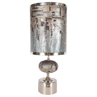 French Mid-Century Modern Handmade Painted Table Lamp with Nickel Fittings For Sale