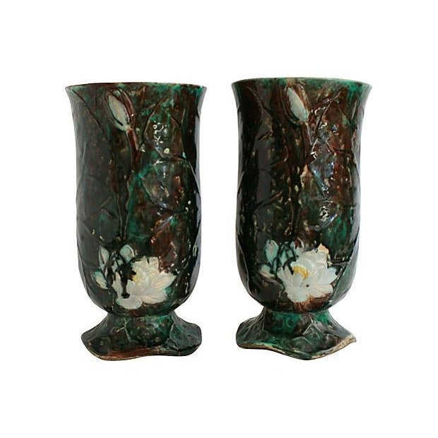 Antique Holdcroft Majolica Vases - a Pair - Image 2 of 6