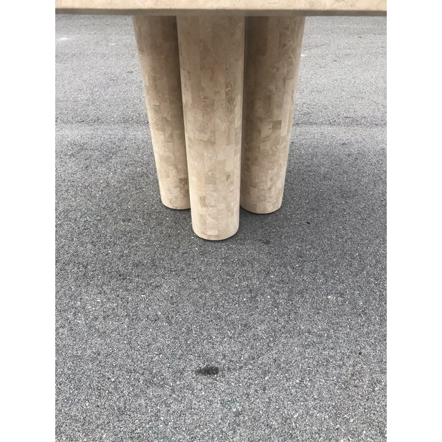 1980s Post Modern Tessellated Fossilized Marble Game Table For Sale - Image 5 of 12