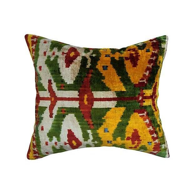 Bohemian Velvet Ikat Pillow For Sale