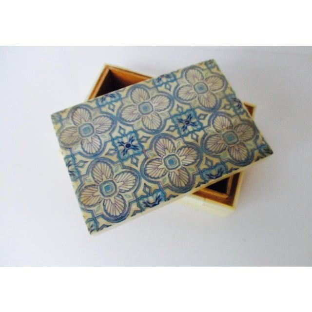 Blue & White Inlaid Bone Jewelry Box - Image 5 of 8