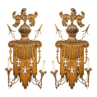 19th Century English Renaissance Gilt Metal and Fruitwood Wall Sconces-a Pair For Sale