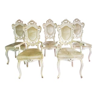 Silik Style Baroque French Dining Chairs - Set of 6 For Sale