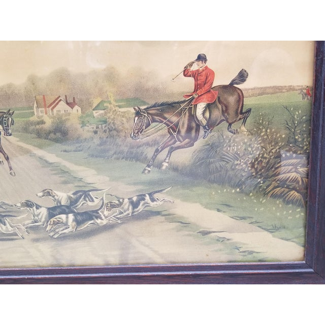 Glass Antique English Hunting Framed Print For Sale - Image 7 of 13