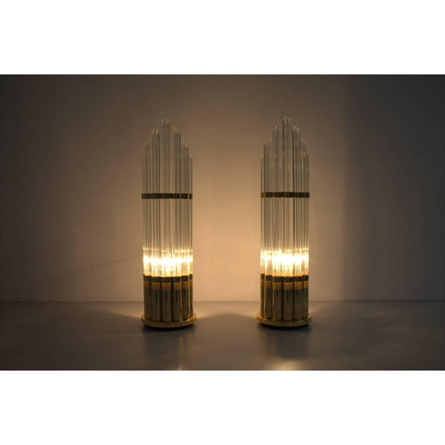 Pair of Murano Glass Table Lamps With Gilded Base, Italy, 1970s For Sale - Image 4 of 7
