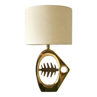 Polished Brass Fish Bone Silhouette Table Lamp 1970s For Sale