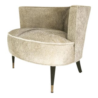 Forsyth Vintage Barrel Chair Reupholstered in Brazilian Cowhide