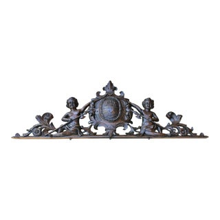 "Antique French Architectural Pediment With Crown & Cherubs Wall Decor 47"" Wide For Sale"