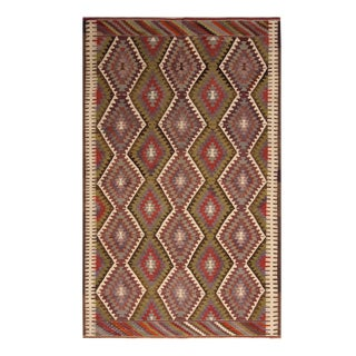 1950s Vintage Mid-Century Antalya Wool Kilim Rug-5′7″ × 8′11″ For Sale