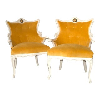 1960s Vintage Christian Lacroix Butterfly Fabric Italian Regency Revival Chairs- A Pair For Sale