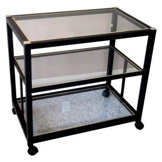 Pierre Vandel Style Black & Gold Trimmed Bar Cart