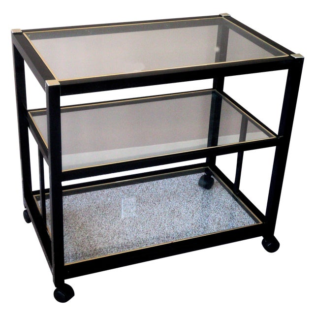 Pierre Vandel Style Black & Gold Trimmed Bar Cart For Sale