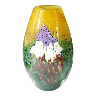 Shawn Messenger Studio Art Glass Landscape Series Millefiori Signed Vase For Sale