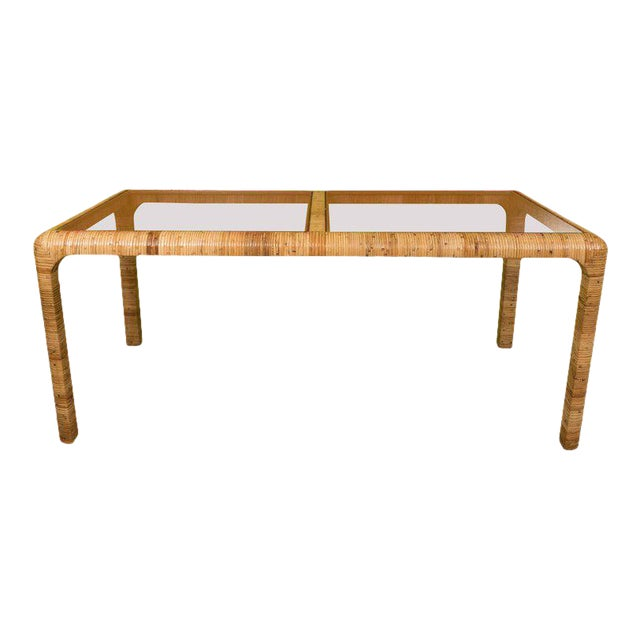 Rattan & Glass Console Table - Image 1 of 9