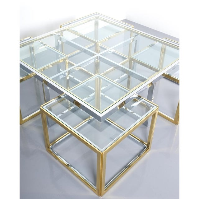 Gold Square Segment Bicolor Brass Glass Coffee Table by Maison Charles, France 1975 For Sale - Image 8 of 13