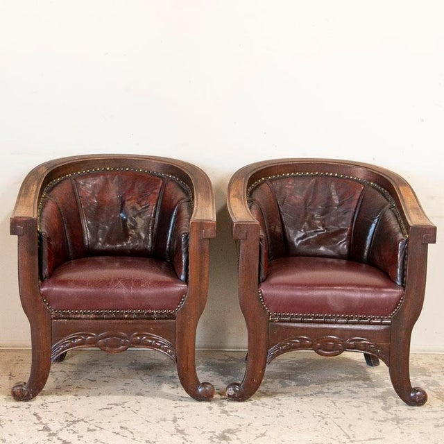 Vintage Leather Sofa and Arm Chairs - Set of 3 For Sale - Image 6 of 11