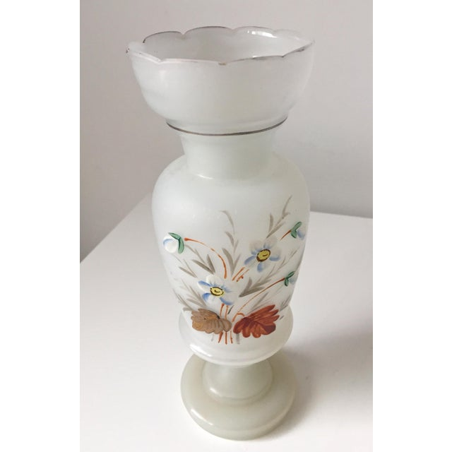 French Opaline Glass Hand Painted Vase - Image 3 of 5