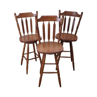 Maple Colonial Style Swivel Bar Stools - Set of 3 For Sale
