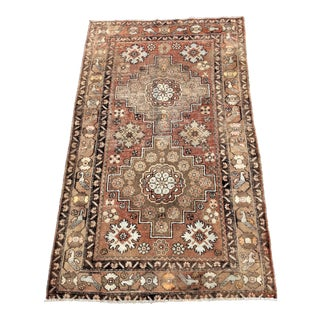 "Antique Turkish Brown Wool Rug - 4'10""x8'4"""