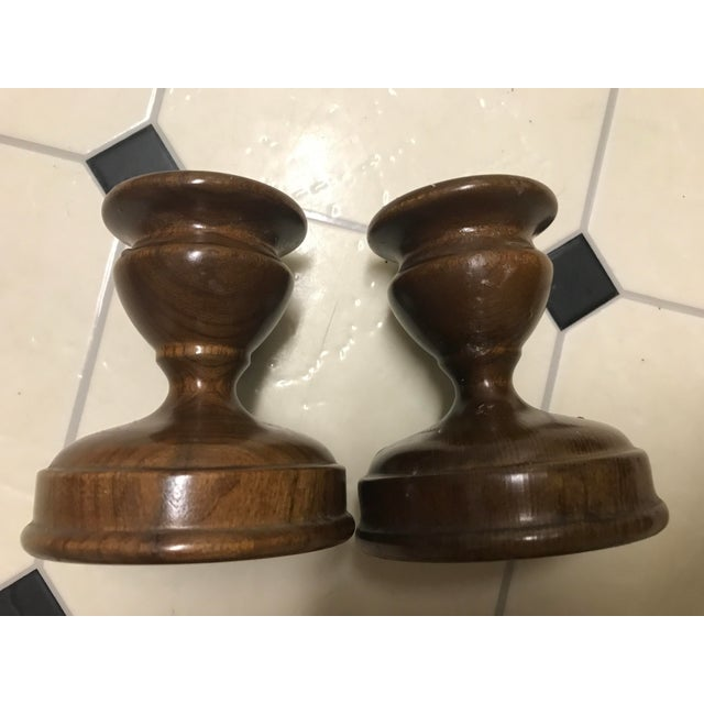 Wood Stickley Solid Cherry Candlesticks - a Pair For Sale - Image 7 of 7